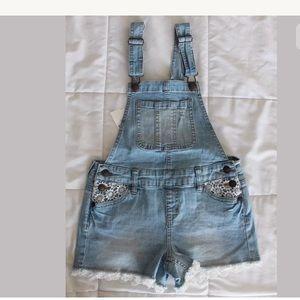 Justice jeans denim overalls light blue 8 new